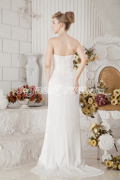 Affordable Sheath Full Length Chiffon Wedding Dress