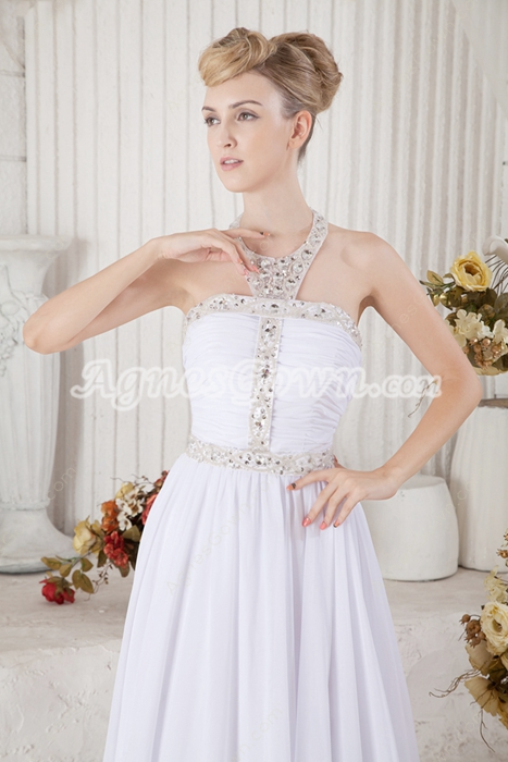 Charming Halter White Summer Beach Wedding Dress With Sequins
