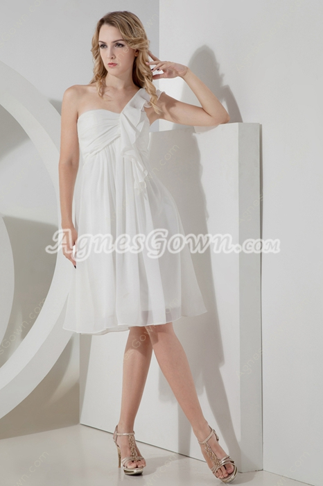 Knee Length One Shoulder White Prom Party Dress