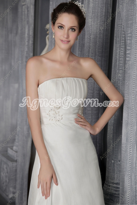 Affordable A-line Satin Bridal Dress Corset Back
