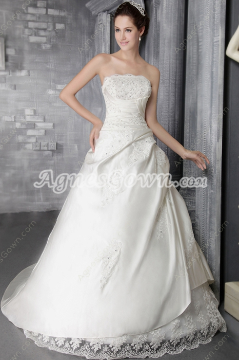Modesty A-line Satin Wedding Dress With Lace Appliques