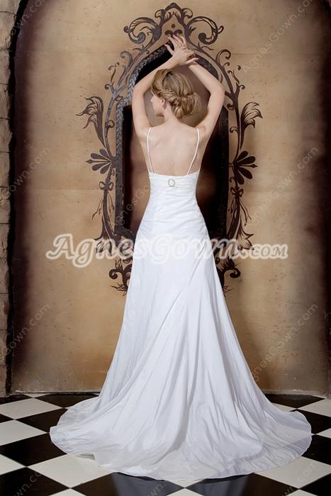 Spaghetti Straps Simple Satin Wedding Dress