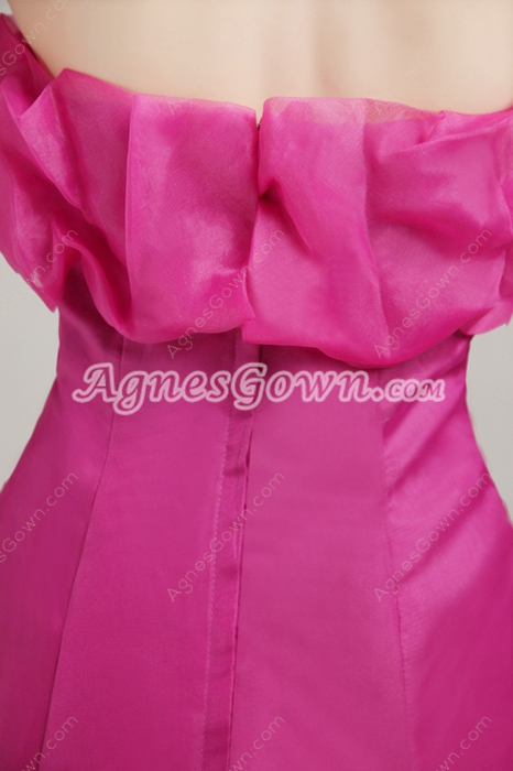 Pretty Strapless Fuchsia Organza Mermaid Prom Party Dress