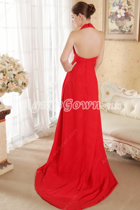 Chic Halter Red Chiffon Formal Evening Dress