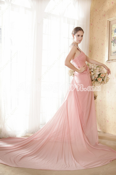 V-Neckline Pink Chiffon Celebrity Evening Dress With Beads