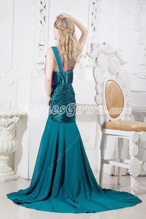 Plunge Neckline Teal & Purple Maxi Evening Dress