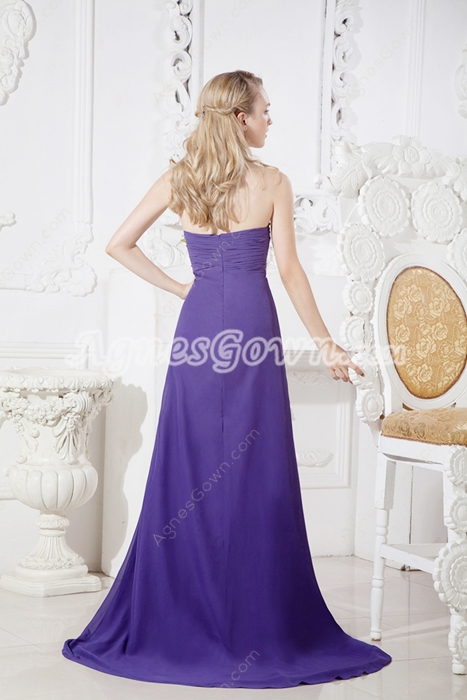 Charming Violet Chiffon Formal Evening Dress With Beads