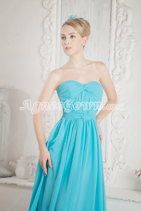 Stunning A-line Blue Chiffon Prom Party Dress
