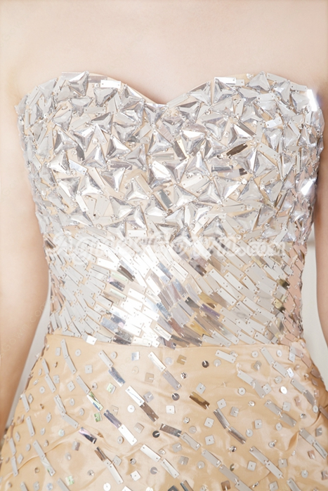 Luxurious Silver And Champagne Wedding Guest Dress