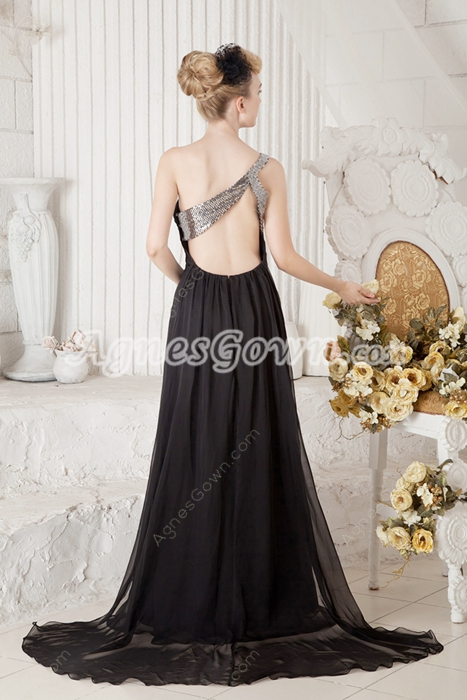 Keyhole Back One Shoulder Formal Evening Dress