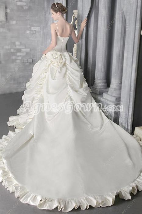 Breathtaking Spaghetti Straps Ball Gown Wedding Dress 2016