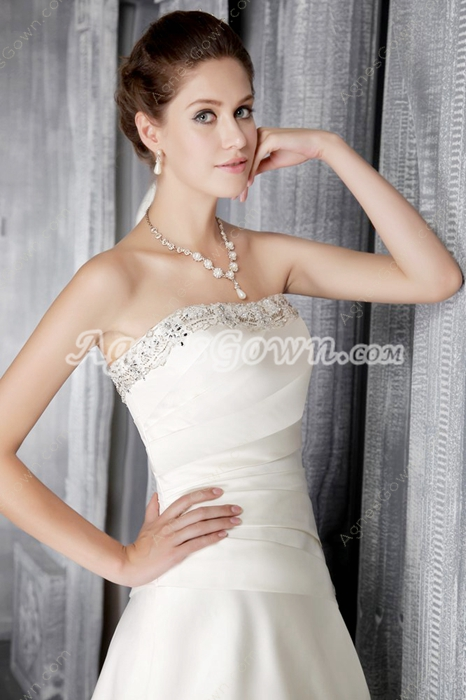 Affordable Satin Bridal Dress With Beads