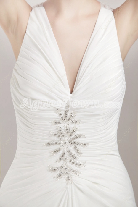 V-Neckline White Chiffon Summer Beach Wedding Dress