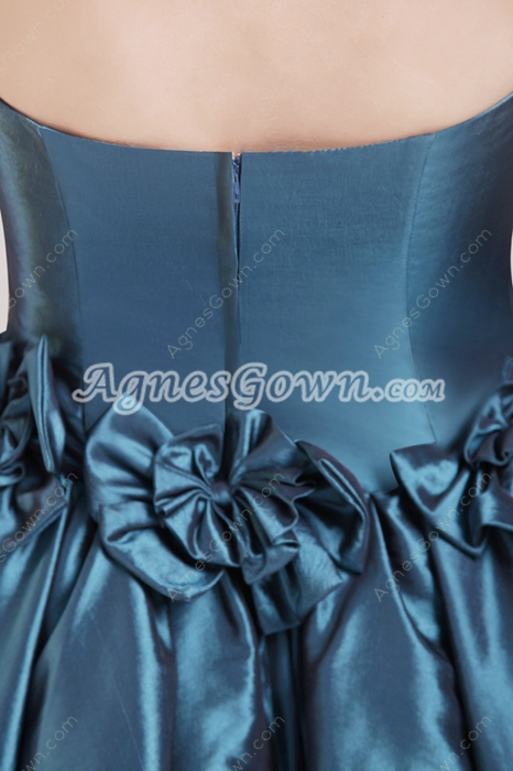 Dark Navy Puffy Mini Length Damas Dress With Bowknot