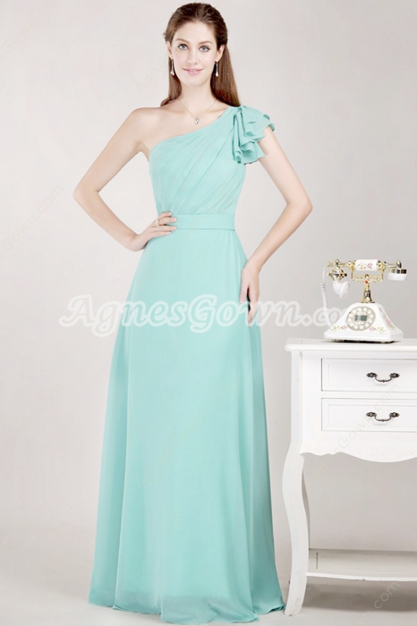 Beautiful One Shoulder Jade Green Bridesmaid Dress