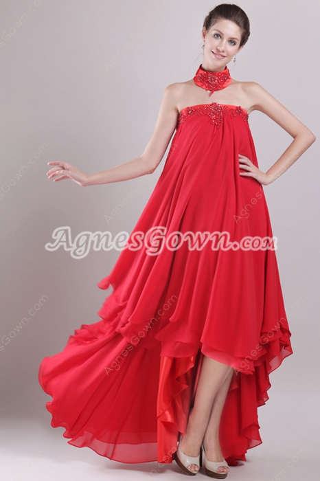 Strapless Empire Red Chiffon Maternity Prom Dress