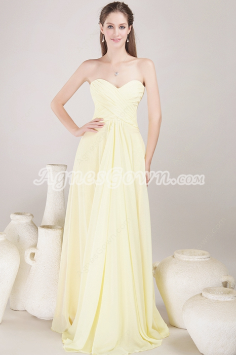 Delicate Yellow Chiffon Bridesmaid Dress