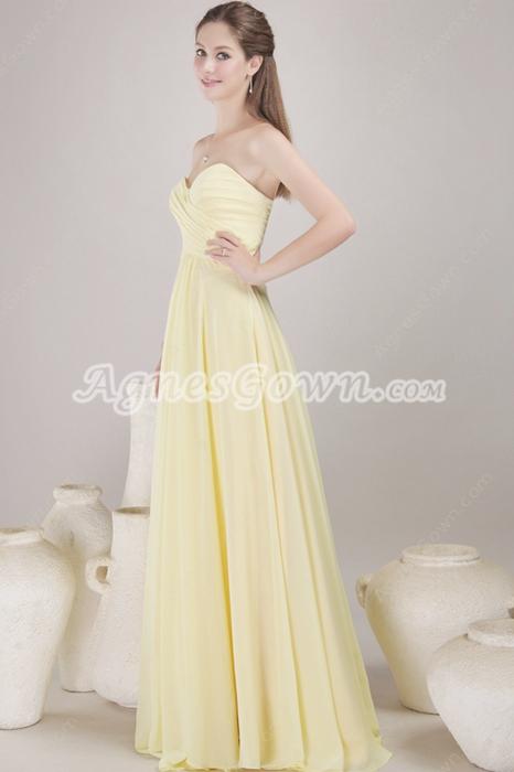 Delicate Yellow Chiffon Bridesmaid Dress