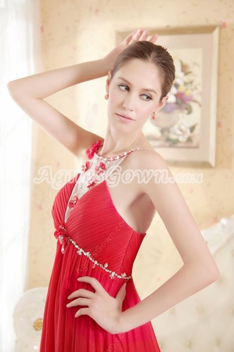 Sexy Spaghetti Straps Red Chiffon Maternity Prom Dresses