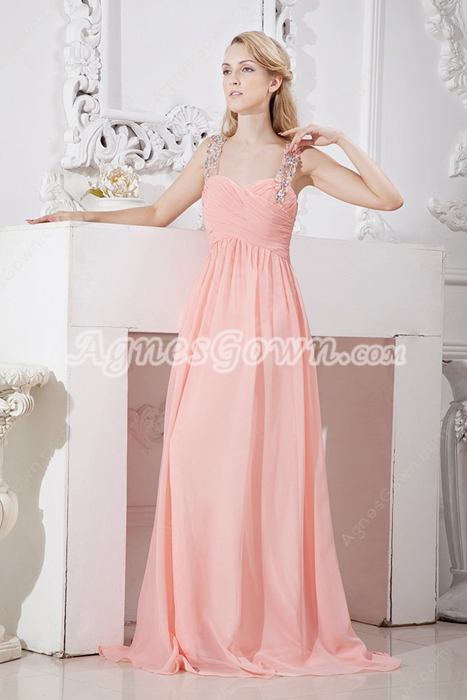 Beautiful A-line Full Length Coral Prom Party Dress
