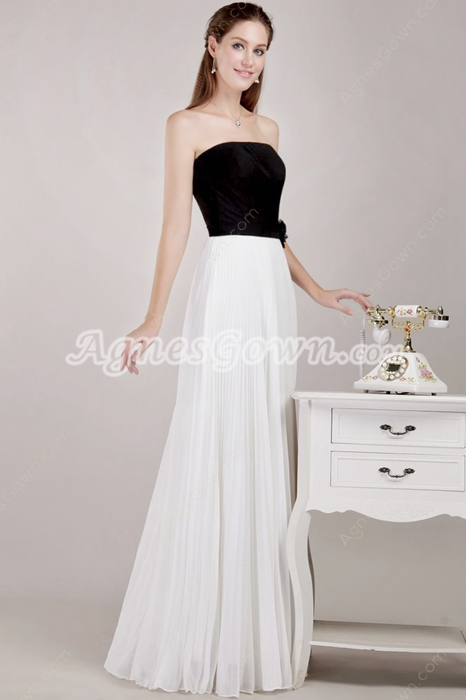Cute Black & White Chiffon Homecoming Dress