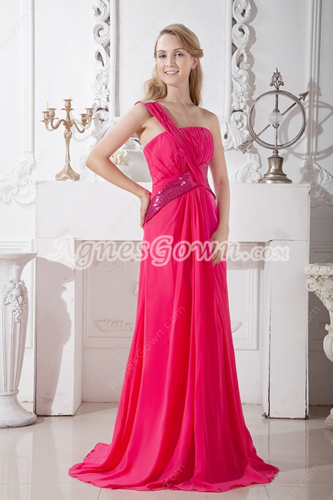 Sassy One Straps A-line Hot Pink Chiffon New Year Eve Dress