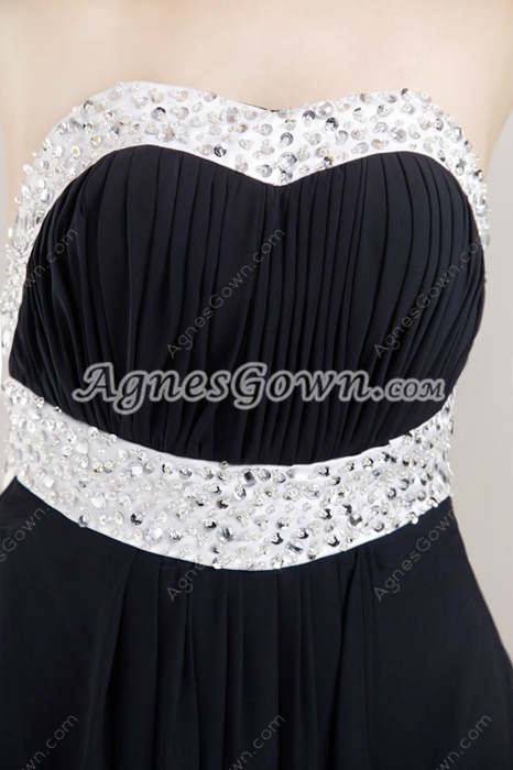 Grecian White And Black Plus Size Evening Dress With Beads