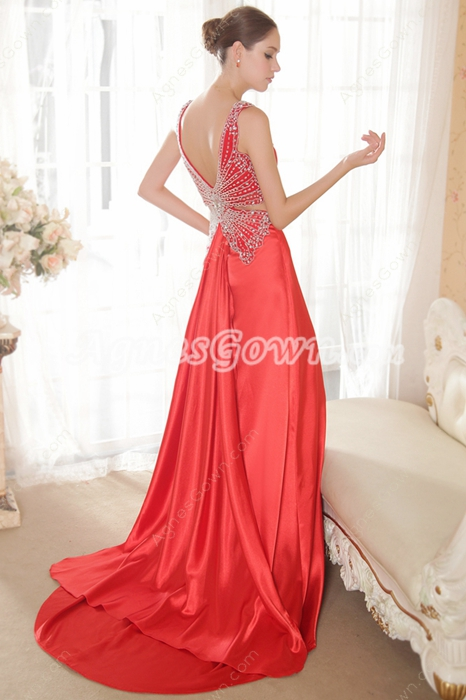 Exquisite Red Butterfly Beaded Evening Dresses