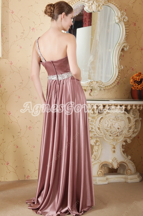 One Straps Dusty Rose Elastic Satin Evening Dress