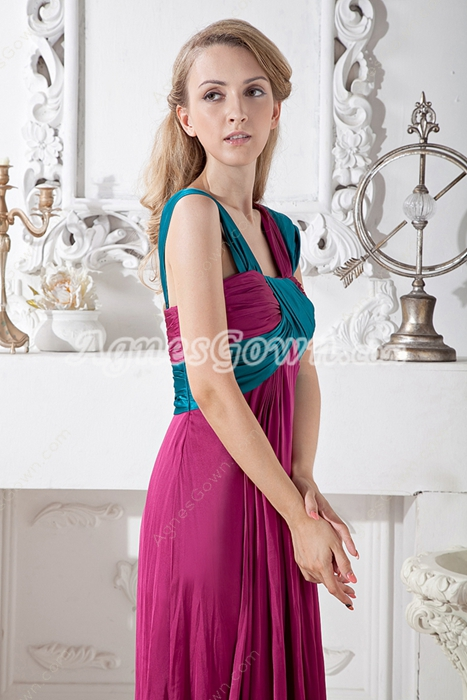 Empire Full Length Fuchsia & Teal Evening Maxi Dress