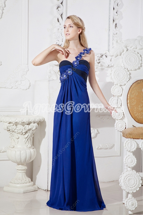 Colorful One Shoulder Royal Blue And Black Evening Maxi Dress