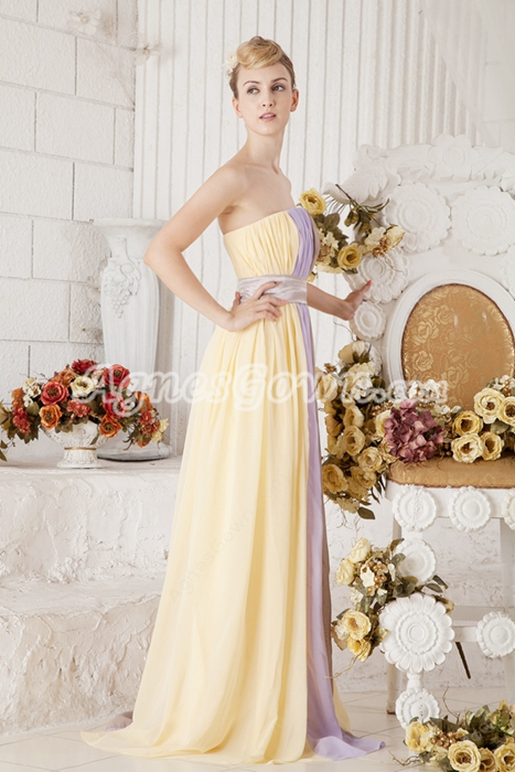 Pretty A-line Full Length Multi Colored Rainbow Evening Dress