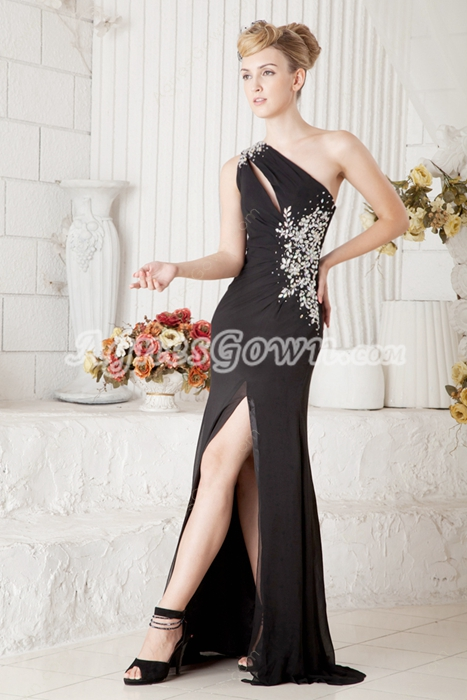 Sexy One Shoulder Evening Maxi Dress High Slit