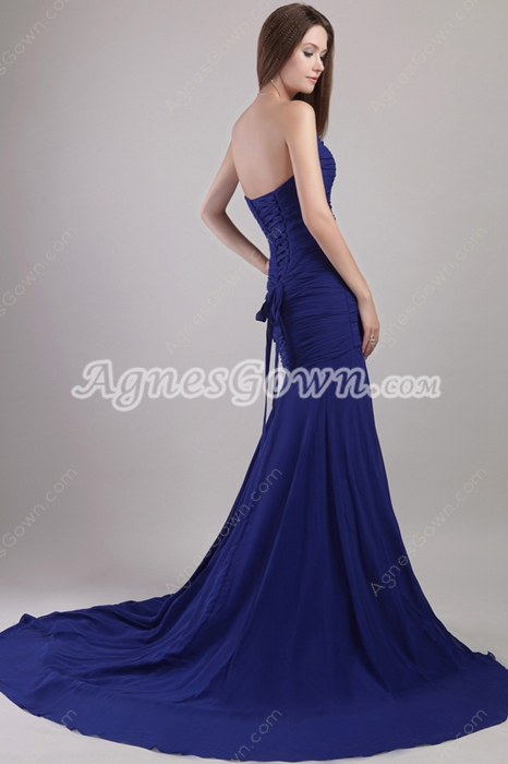 Dropped Waist Royal Blue Chiffon Celebrity Evening Dress