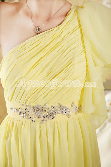 Pretty One Shoulder Short Sleeves Yellow Engagement Evening Dress