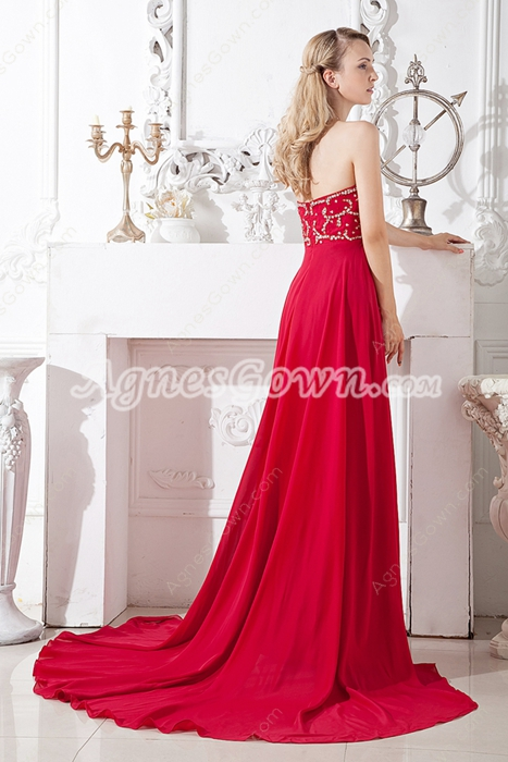 Grecian Empire Red Chiffon Maternity Evening Gown