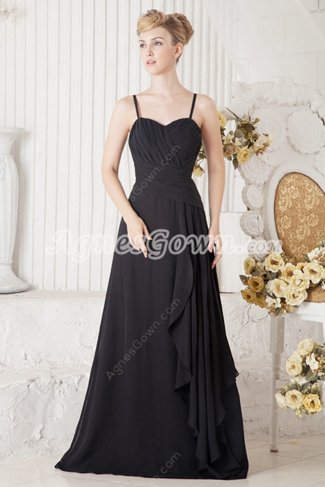 Decent Spaghetti Straps Black Chiffon Prom Party Dress