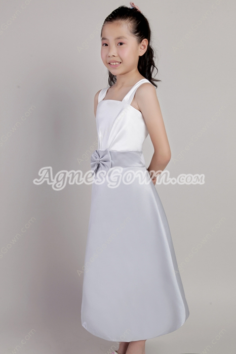 Siimple White & Silver Little Girls Dresses