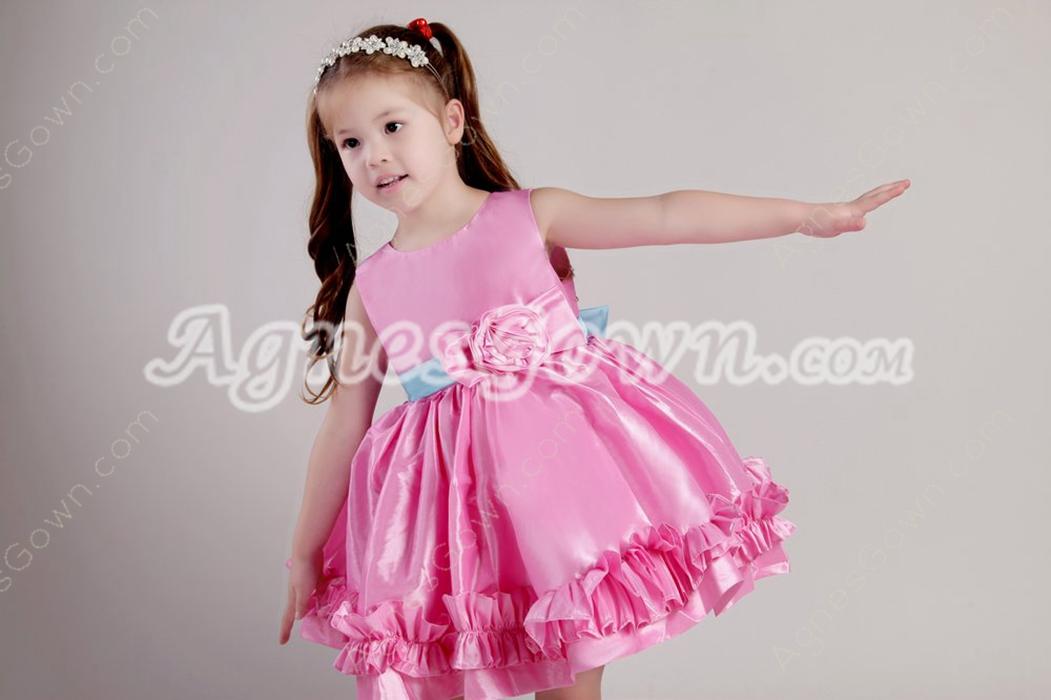 Mini Length Hot Pink Infant Flower Girl Dress