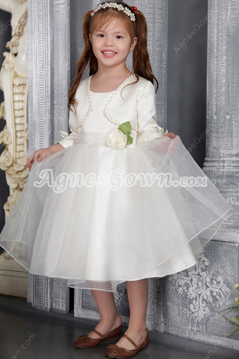 Modest Puffy Tea Length Little Flower Girl Dresses with 3/4 Sleeves