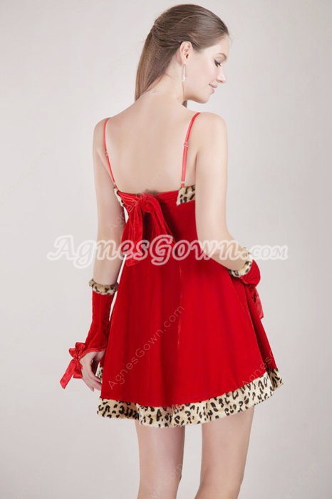 Mini Length Red Cocktail Dress With Leopard Edge