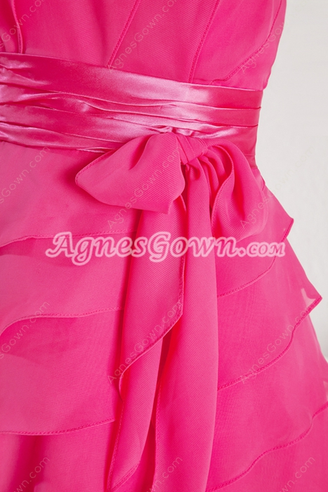 Lovely Mini Length Fuchsia Quince Dress For Damas
