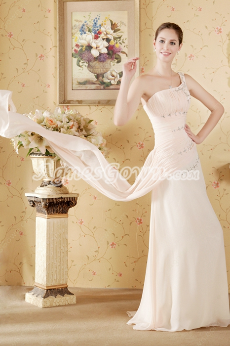 One Straps Champagne High School Graduation Dress With Ribbons