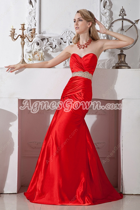 Charming Red Satin Mermaid/Fishtail Prom Party Dress