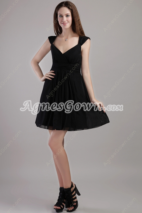 Mini Length V-Neckline Black Cocktail Dress