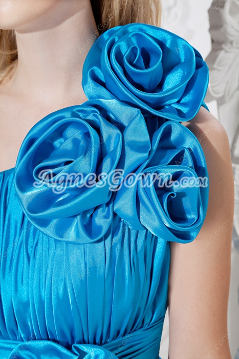 One Shoulder Turquoise Junior Prom Dress