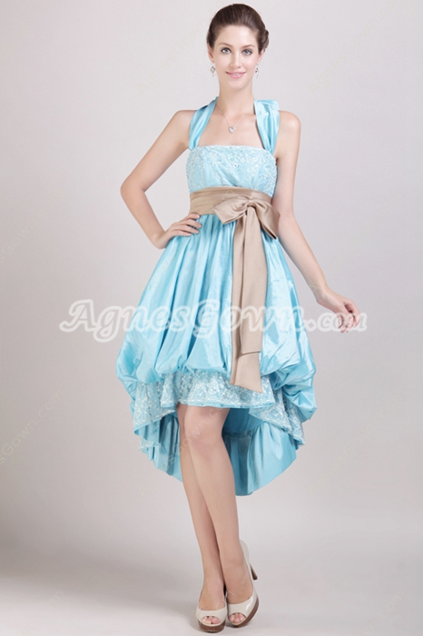 Sassy Top Halter High Low Blue Prom Dress With Sash