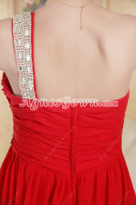 Fancy One Shoulder High Low Celebrity Dresses With Beads