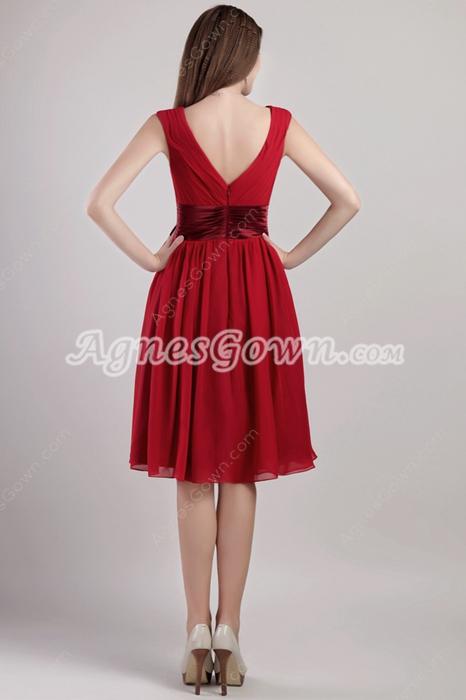 V-Neckline Knee Length Red Junior Prom Dress