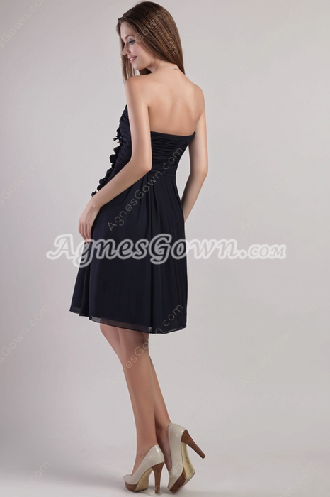 Dipped Neckline Mini Length Dark Navy Homecoming Dress